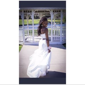 White haltered two piece prom dress